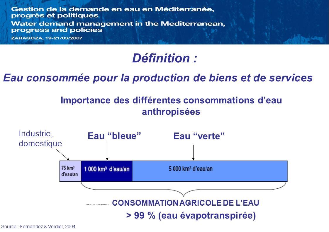 Définition : Eau consommée pour la production de biens et de services > 99 % (eau évapotranspirée) Importance des différentes consommations deau anthr