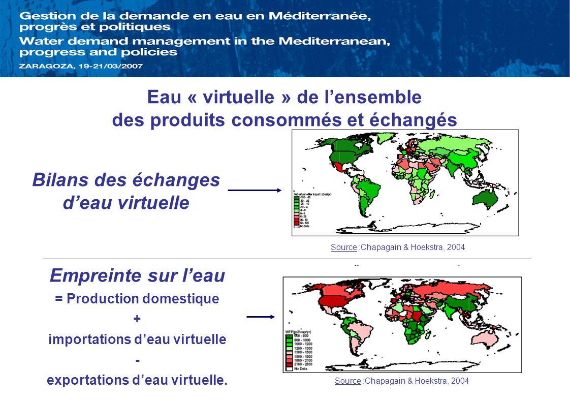 Eau « virtuelle » de lensemble des produits consommés et échangés Empreinte sur leau = Production domestique + importations deau virtuelle - exportati