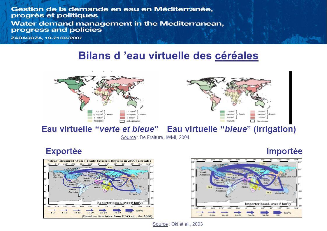 Bilans d eau virtuelle des céréales Exportée Importée Source : Oki et al., 2003 Eau virtuelle verte et bleueEau virtuelle bleue (irrigation) Source :
