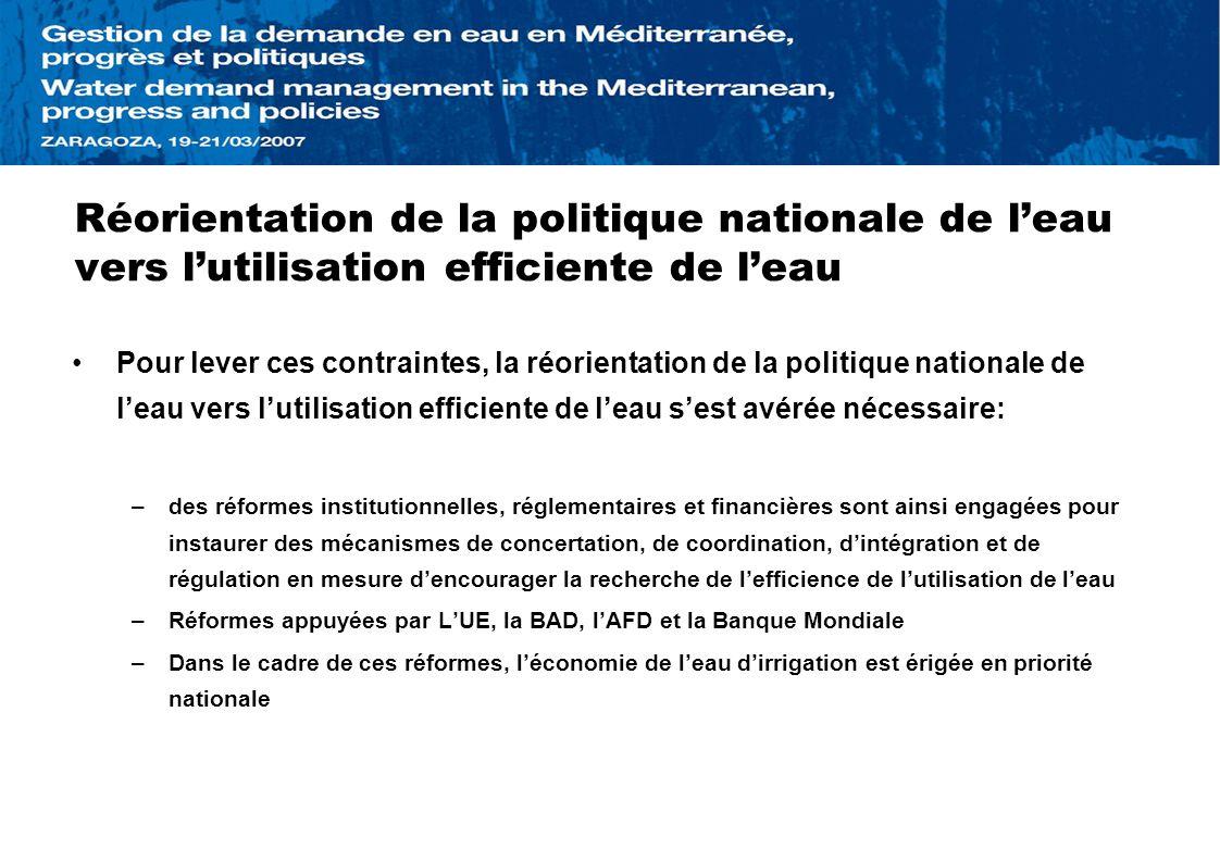 Réorientation de la politique nationale de leau vers lutilisation efficiente de leau Pour lever ces contraintes, la réorientation de la politique nati