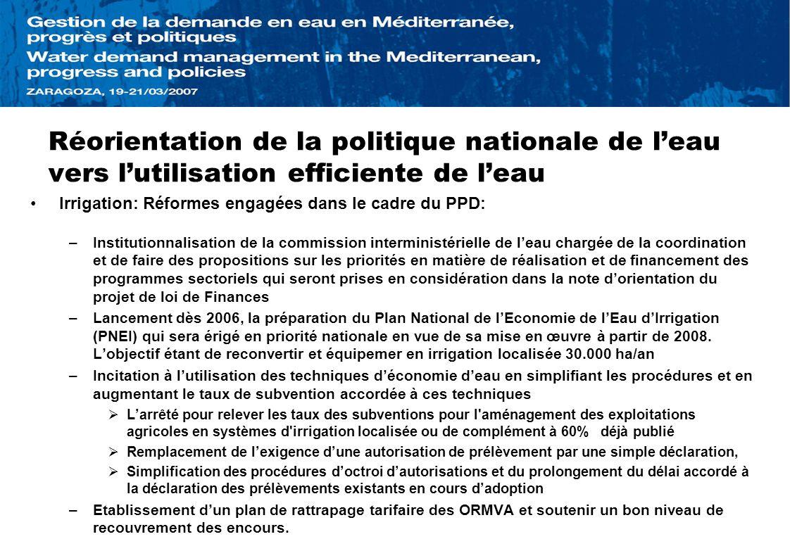 Réorientation de la politique nationale de leau vers lutilisation efficiente de leau Irrigation: Réformes engagées dans le cadre du PPD: –Institutionn