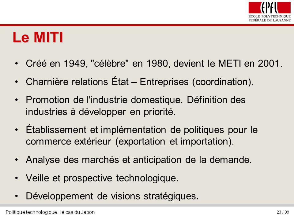 Politique technologique - le cas du Japon 23 / 39 Le MITI Créé en 1949, célèbre en 1980, devient le METI en 2001.