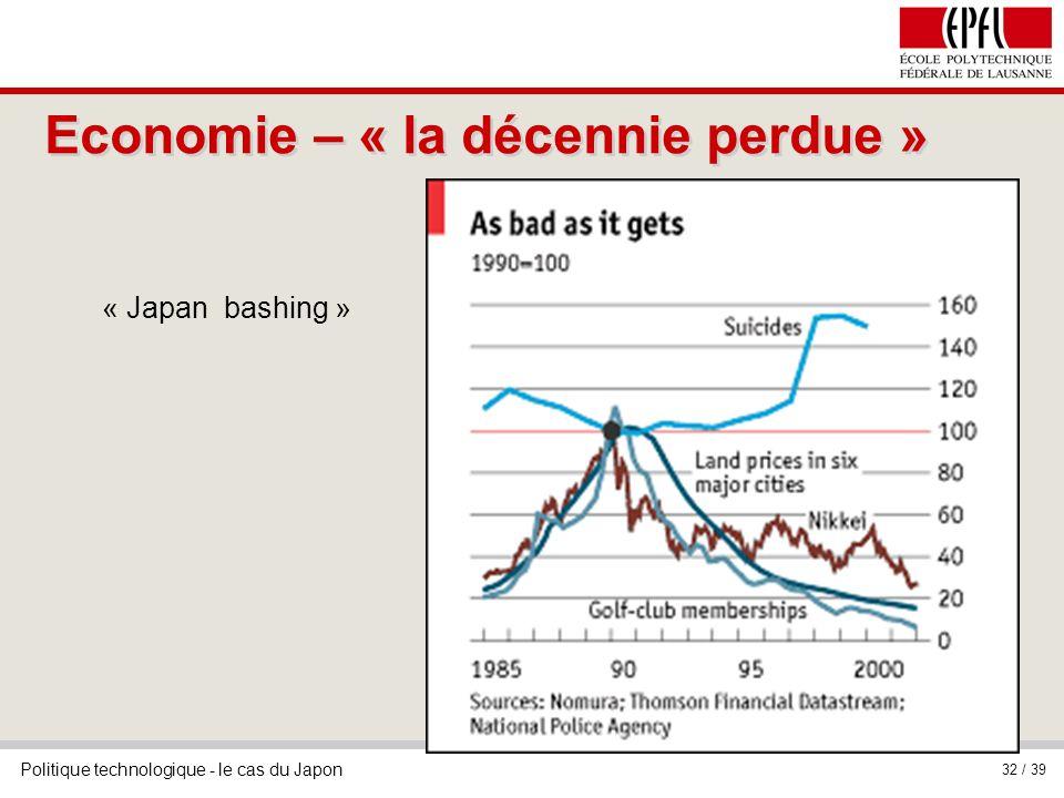 Politique technologique - le cas du Japon 32 / 39 Economie – « la décennie perdue » « Japan bashing »