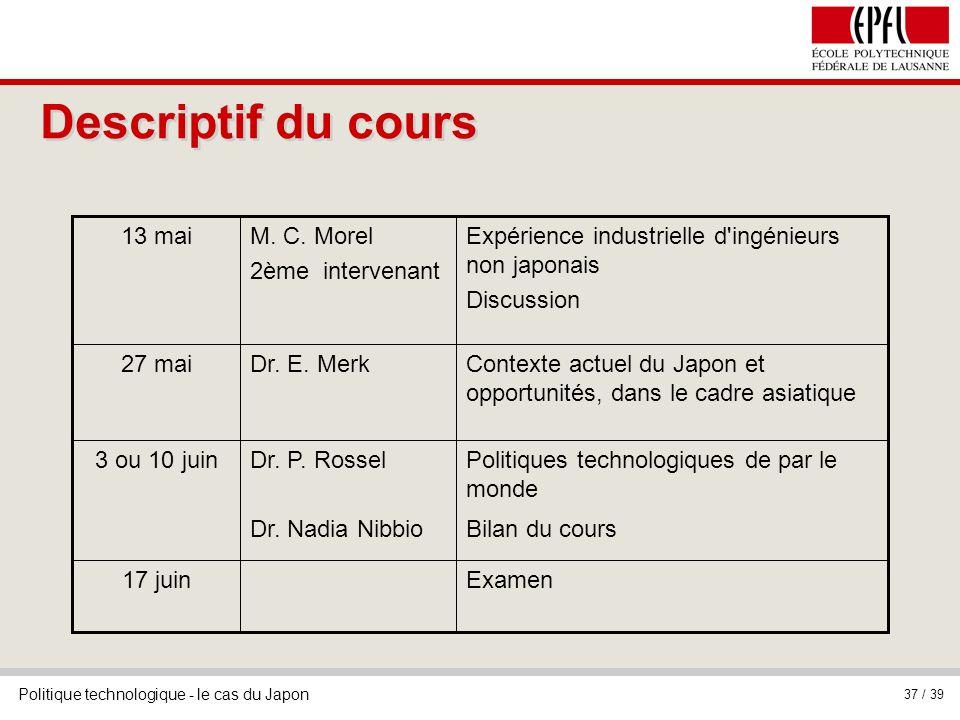 Politique technologique - le cas du Japon 37 / 39 Descriptif du cours Examen17 juin Politiques technologiques de par le monde Bilan du cours Dr.
