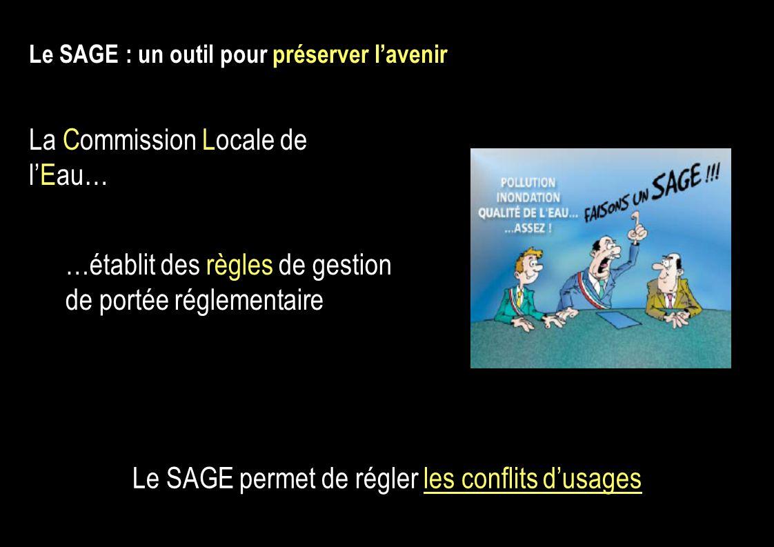 …établit des règles de gestion de portée réglementaire Le SAGE : un outil pour préserver lavenir Le SAGE permet de régler les conflits dusages La Commission Locale de lEau…