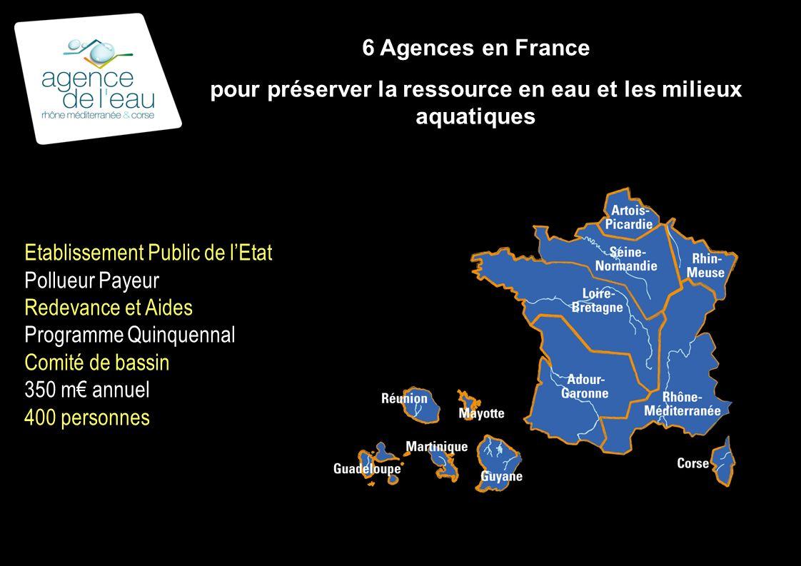 6 Agences en France pour préserver la ressource en eau et les milieux aquatiques Etablissement Public de lEtat Pollueur Payeur Redevance et Aides Programme Quinquennal Comité de bassin 350 m annuel 400 personnes