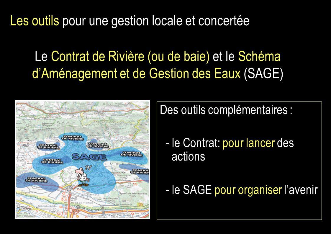 Le Contrat de Rivière (ou de baie) et le Schéma dAménagement et de Gestion des Eaux (SAGE) Des outils complémentaires : - le Contrat: pour lancer des