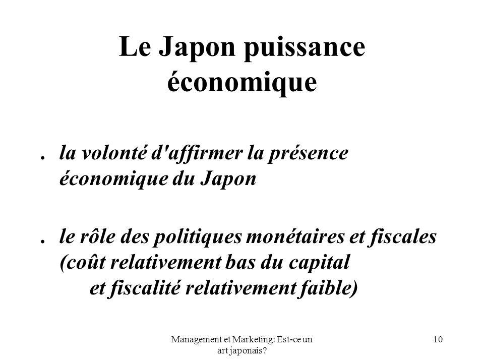 Management et Marketing: Est-ce un art japonais? 10 Le Japon puissance économique. la volonté d'affirmer la présence économique du Japon. le rôle des