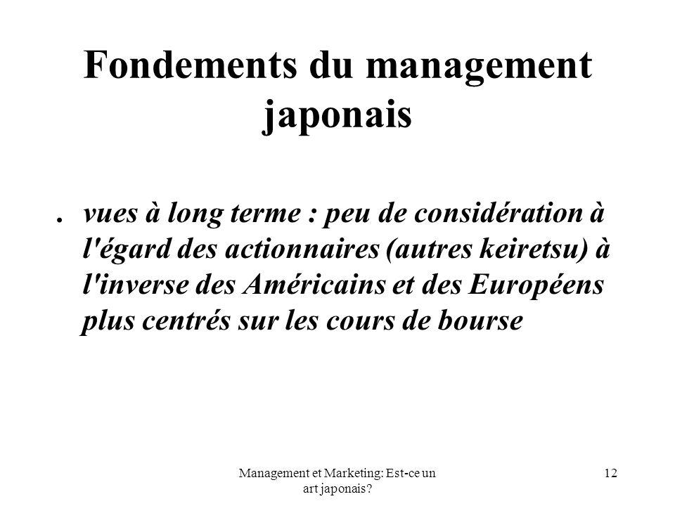 Management et Marketing: Est-ce un art japonais? 12 Fondements du management japonais.vues à long terme : peu de considération à l'égard des actionnai