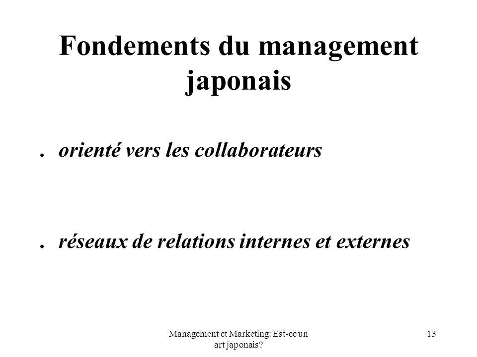 Management et Marketing: Est-ce un art japonais? 13 Fondements du management japonais.orienté vers les collaborateurs.réseaux de relations internes et