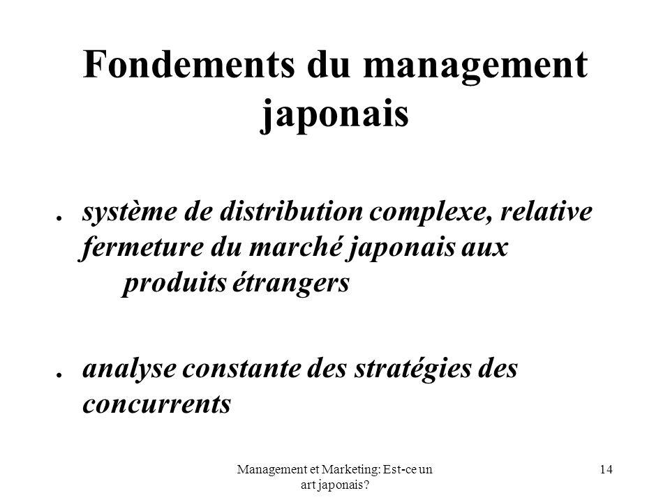 Management et Marketing: Est-ce un art japonais? 14 Fondements du management japonais. système de distribution complexe, relative fermeture du marché