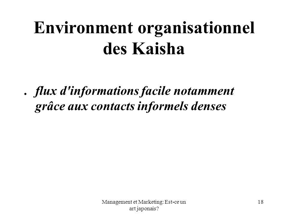 Management et Marketing: Est-ce un art japonais? 18 Environment organisationnel des Kaisha.flux d'informations facile notamment grâce aux contacts inf