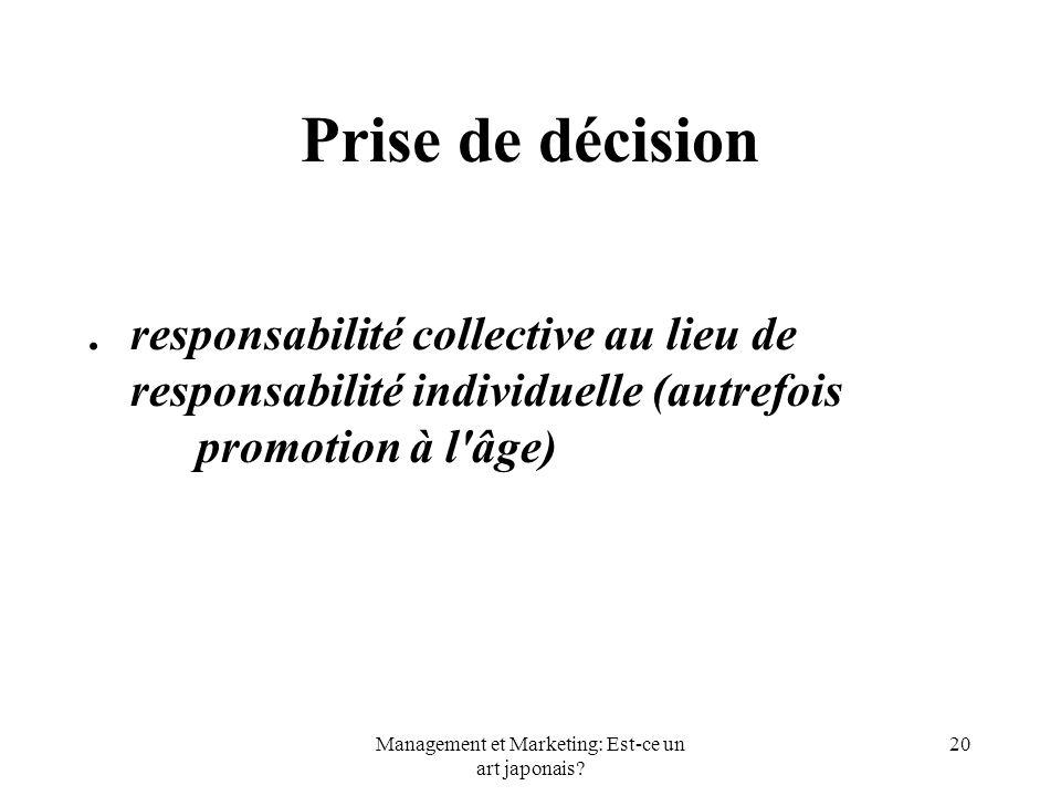 Management et Marketing: Est-ce un art japonais? 20 Prise de décision.responsabilité collective au lieu de responsabilité individuelle (autrefois prom