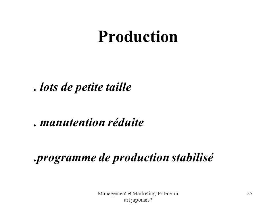 Management et Marketing: Est-ce un art japonais? 25 Production. lots de petite taille. manutention réduite.programme de production stabilisé
