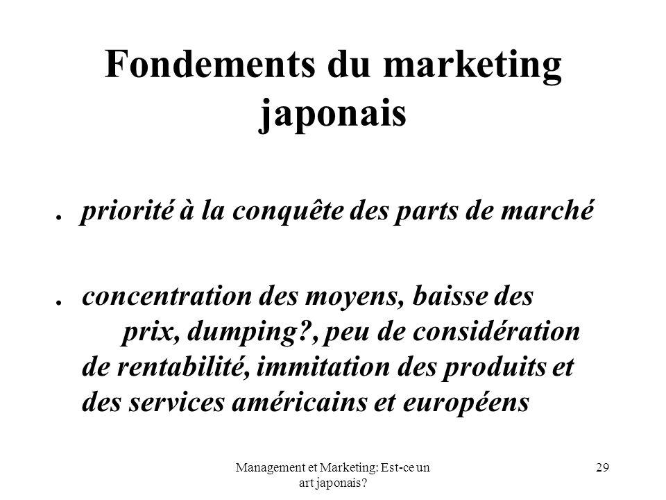 Management et Marketing: Est-ce un art japonais? 29 Fondements du marketing japonais.priorité à la conquête des parts de marché.concentration des moye