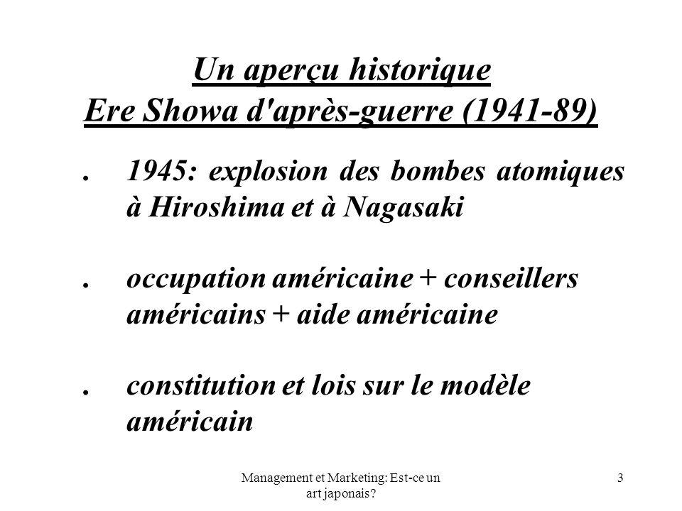 Management et Marketing: Est-ce un art japonais? 3 Un aperçu historique Ere Showa d'après-guerre (1941-89). 1945: explosion des bombes atomiques à Hir