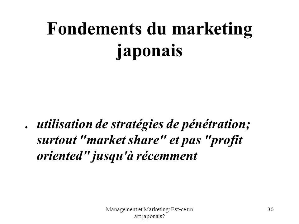 Management et Marketing: Est-ce un art japonais? 30 Fondements du marketing japonais.utilisation de stratégies de pénétration; surtout