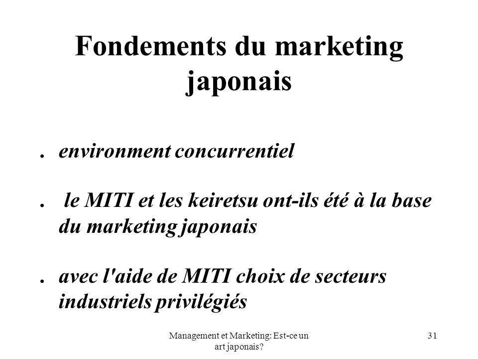 Management et Marketing: Est-ce un art japonais? 31 Fondements du marketing japonais.environment concurrentiel. le MITI et les keiretsu ont-ils été à