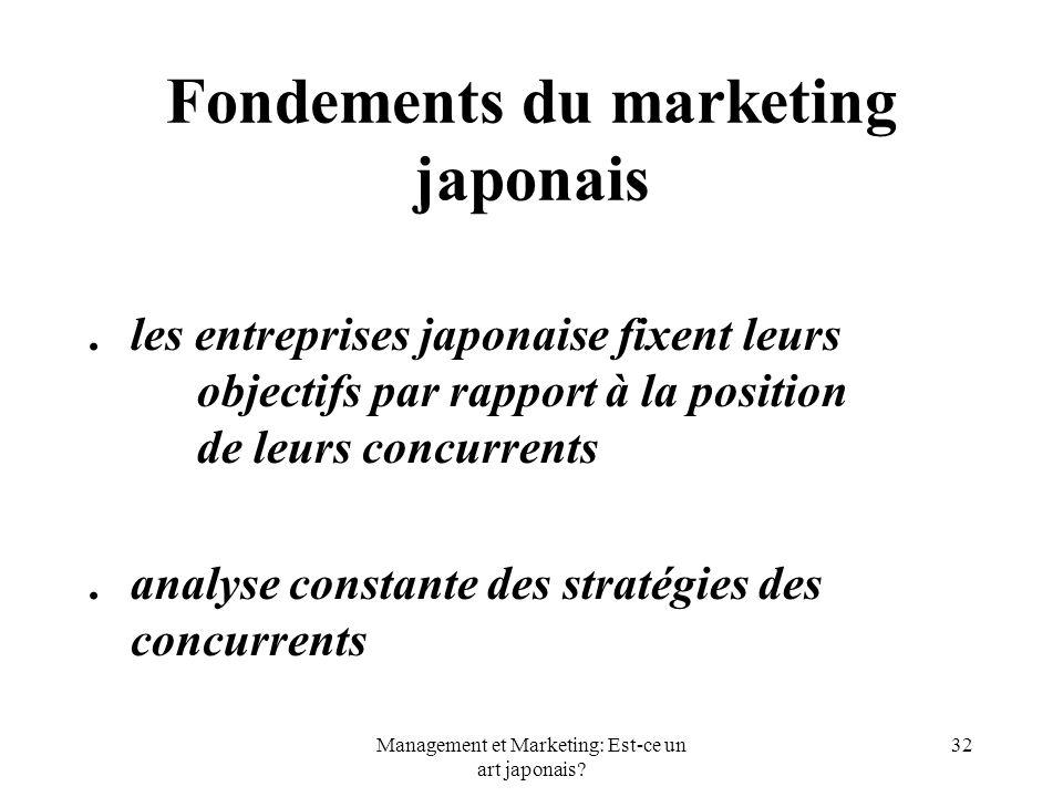 Management et Marketing: Est-ce un art japonais? 32 Fondements du marketing japonais.les entreprises japonaise fixent leurs objectifs par rapport à la