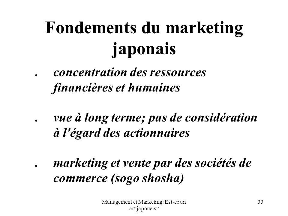 Management et Marketing: Est-ce un art japonais? 33 Fondements du marketing japonais.concentration des ressources financières et humaines.vue à long t