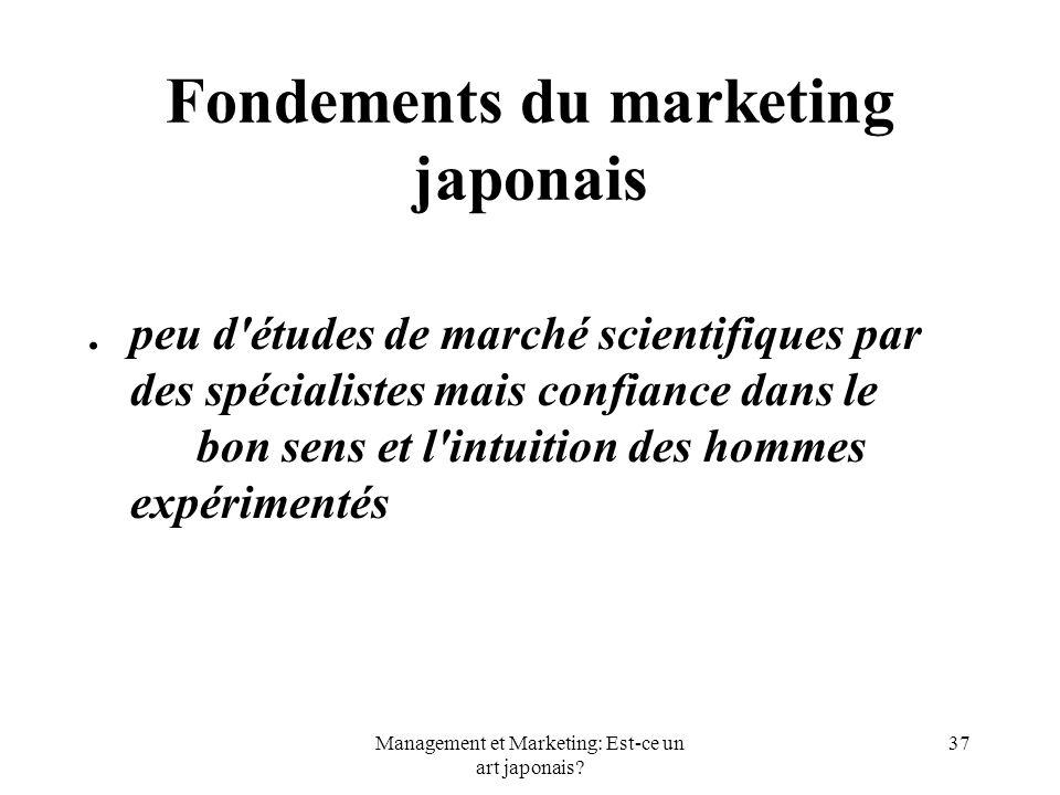 Management et Marketing: Est-ce un art japonais? 37 Fondements du marketing japonais.peu d'études de marché scientifiques par des spécialistes mais co