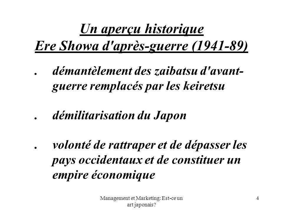 Management et Marketing: Est-ce un art japonais? 4 Un aperçu historique Ere Showa d'après-guerre (1941-89).démantèlement des zaibatsu d'avant- guerre
