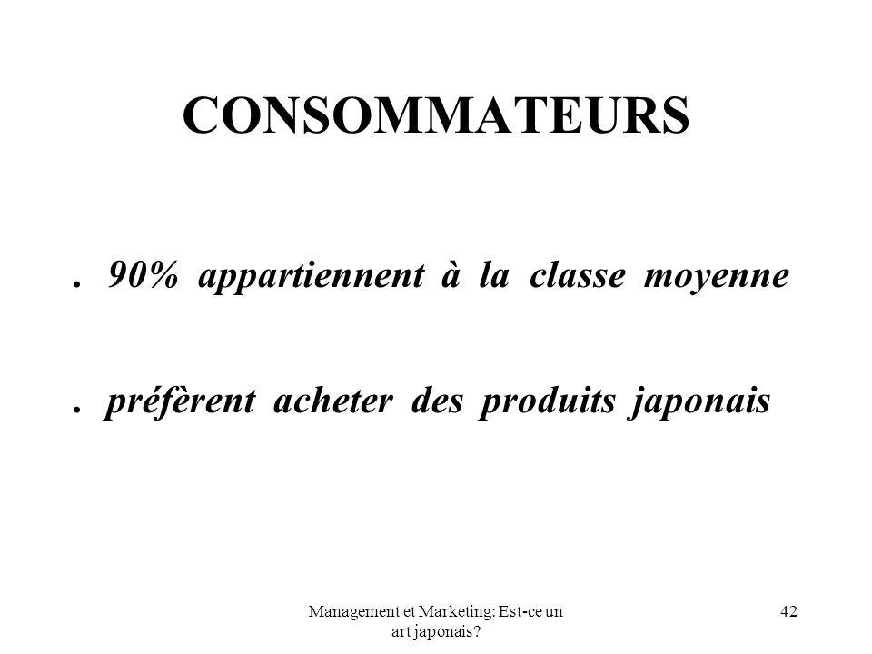 Management et Marketing: Est-ce un art japonais? 42 CONSOMMATEURS.90% appartiennent à la classe moyenne.préfèrent acheter des produits japonais