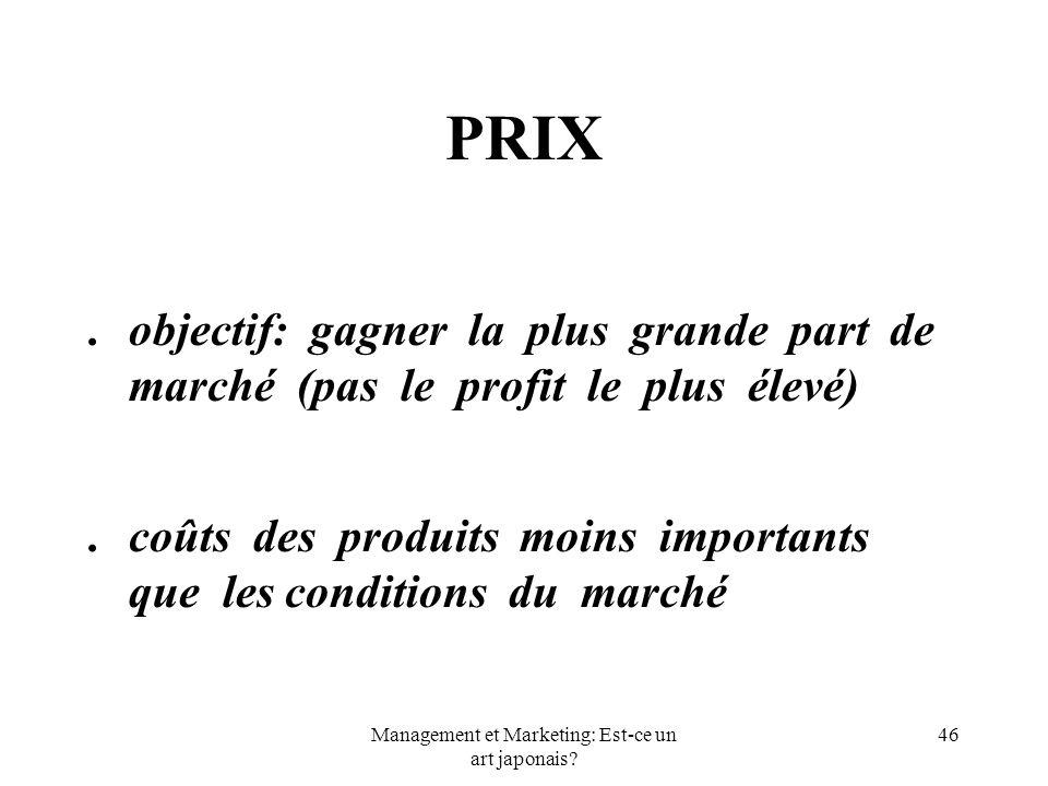 Management et Marketing: Est-ce un art japonais? 46 PRIX.objectif: gagner la plus grande part de marché (pas le profit le plus élevé).coûts des produi