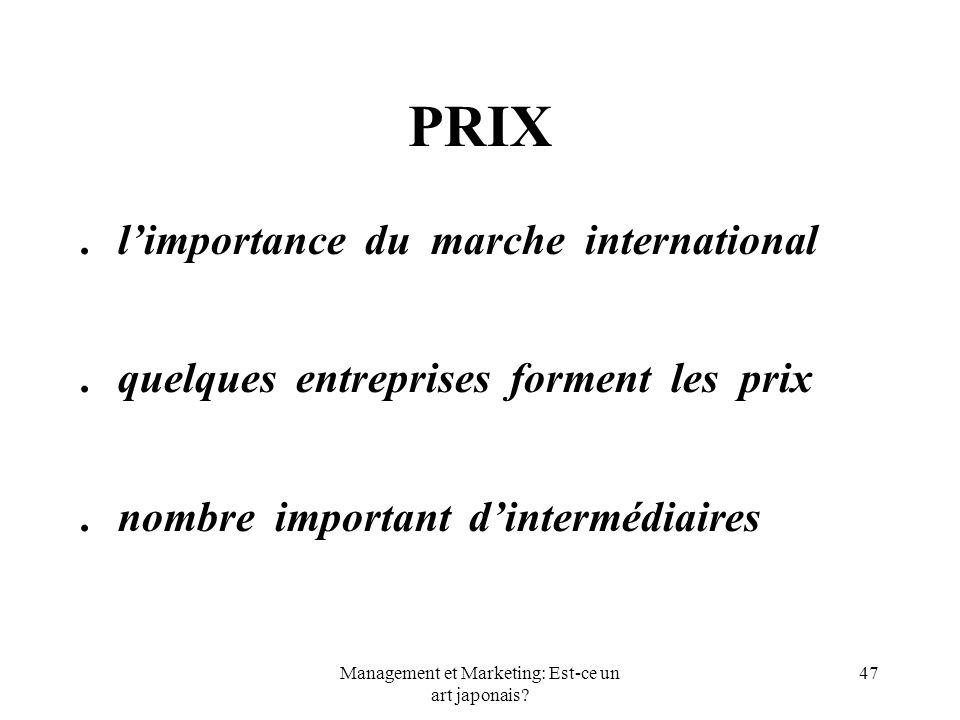 Management et Marketing: Est-ce un art japonais? 47 PRIX.limportance du marche international.quelques entreprises forment les prix.nombre important di