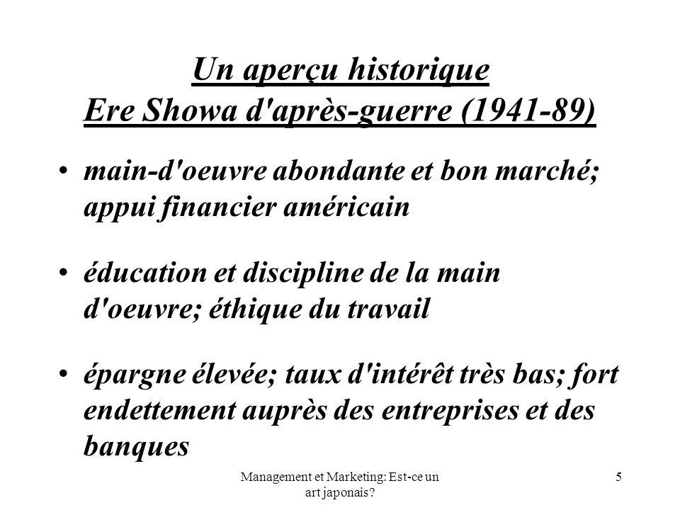 Management et Marketing: Est-ce un art japonais? 5 Un aperçu historique Ere Showa d'après-guerre (1941-89) main-d'oeuvre abondante et bon marché; appu