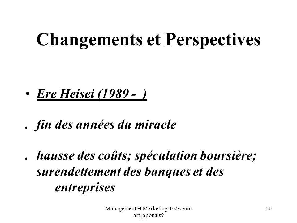 Management et Marketing: Est-ce un art japonais? 56 Changements et Perspectives Ere Heisei (1989 - ).fin des années du miracle.hausse des coûts; spécu