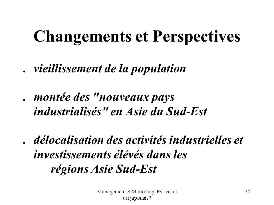 Management et Marketing: Est-ce un art japonais? 57 Changements et Perspectives.vieillissement de la population.montée des