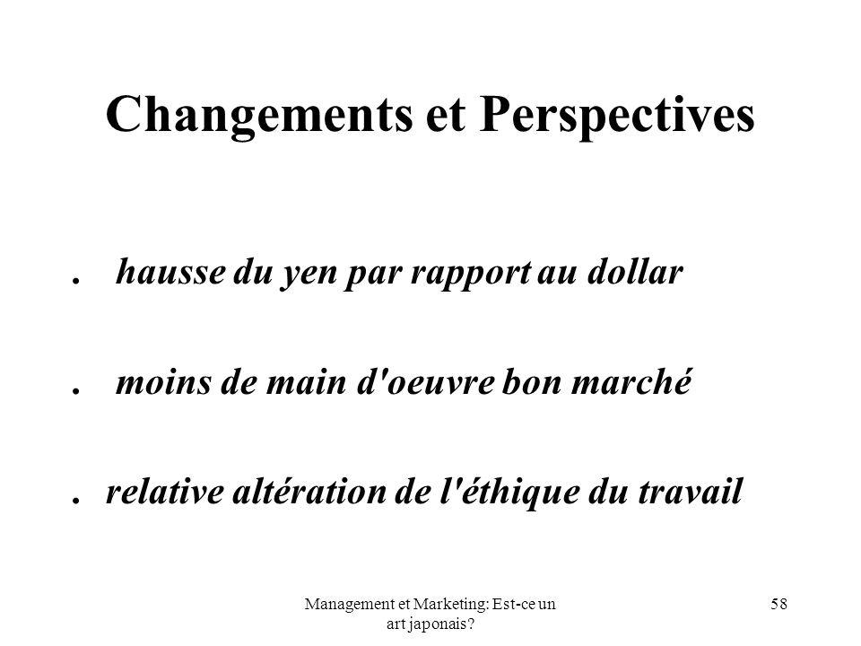 Management et Marketing: Est-ce un art japonais? 58 Changements et Perspectives. hausse du yen par rapport au dollar. moins de main d'oeuvre bon march