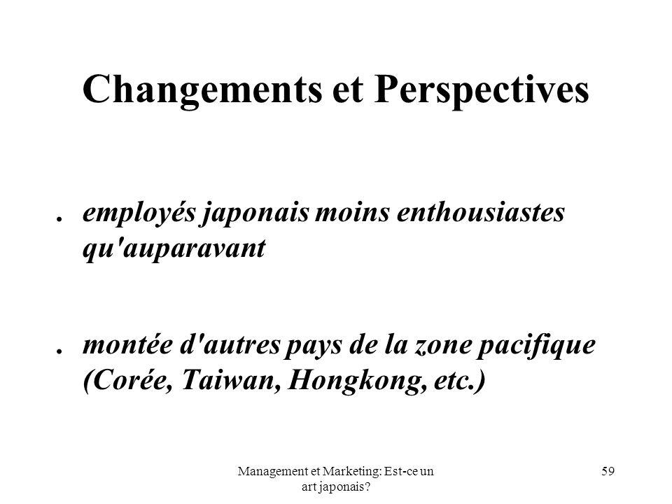 Management et Marketing: Est-ce un art japonais? 59 Changements et Perspectives.employés japonais moins enthousiastes qu'auparavant.montée d'autres pa