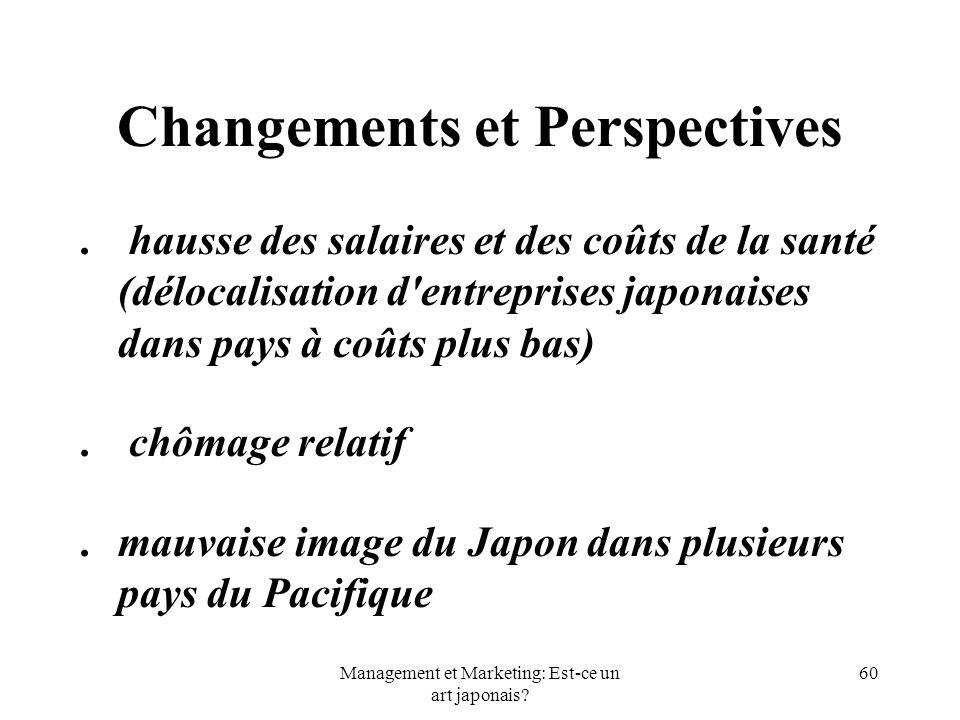Management et Marketing: Est-ce un art japonais? 60 Changements et Perspectives. hausse des salaires et des coûts de la santé (délocalisation d'entrep
