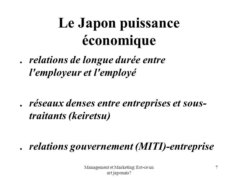Management et Marketing: Est-ce un art japonais? 7 Le Japon puissance économique. relations de longue durée entre l'employeur et l'employé. réseaux de