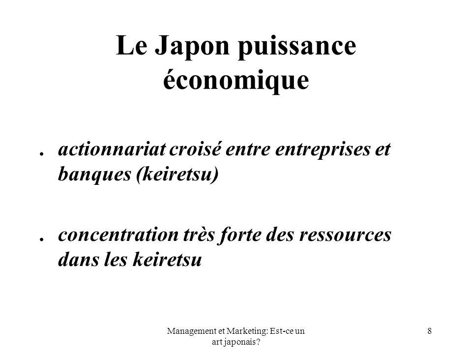 Management et Marketing: Est-ce un art japonais? 8 Le Japon puissance économique. actionnariat croisé entre entreprises et banques (keiretsu). concent