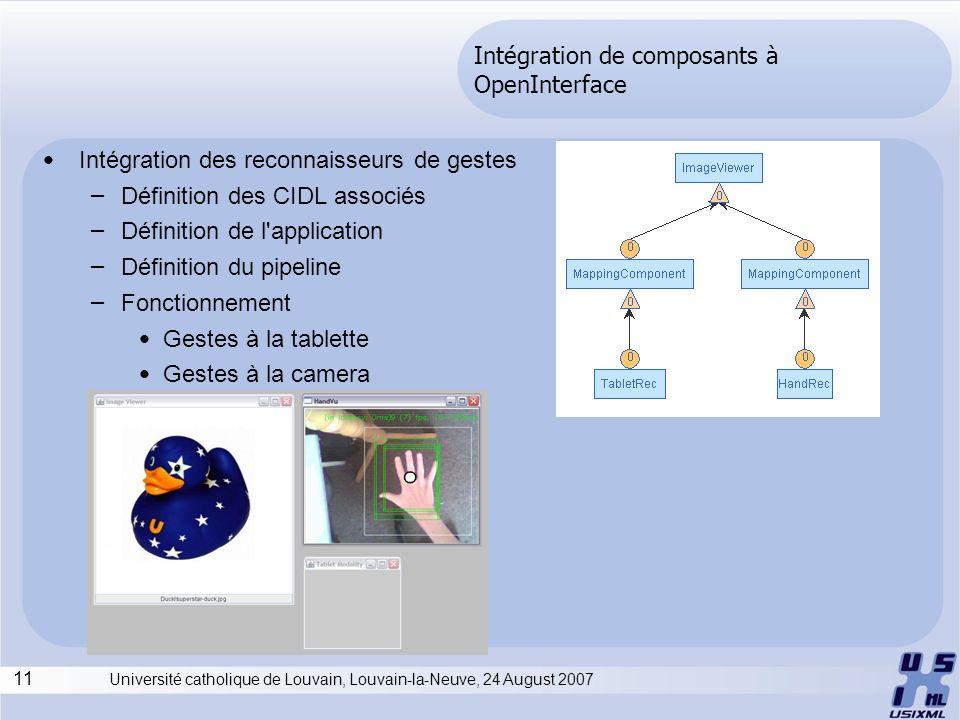 11 Université catholique de Louvain, Louvain-la-Neuve, 24 August 2007 Intégration de composants à OpenInterface Intégration des reconnaisseurs de gest