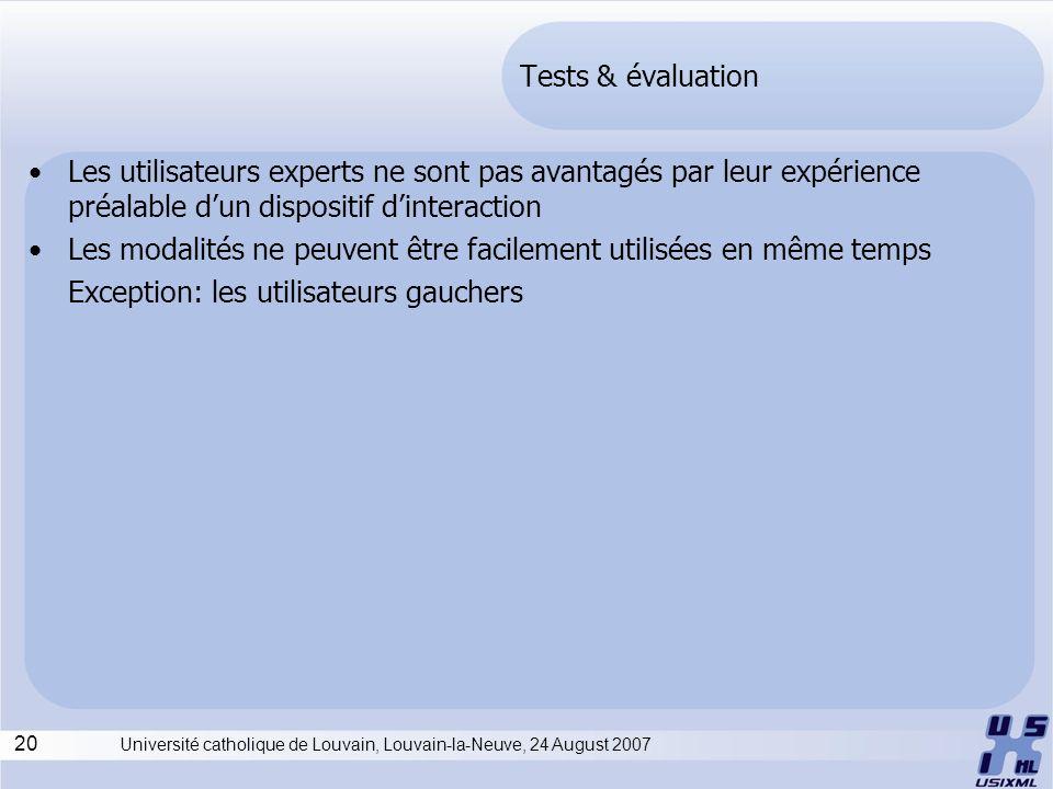20 Université catholique de Louvain, Louvain-la-Neuve, 24 August 2007 Tests & évaluation Les utilisateurs experts ne sont pas avantagés par leur expérience préalable dun dispositif dinteraction Les modalités ne peuvent être facilement utilisées en même temps Exception: les utilisateurs gauchers