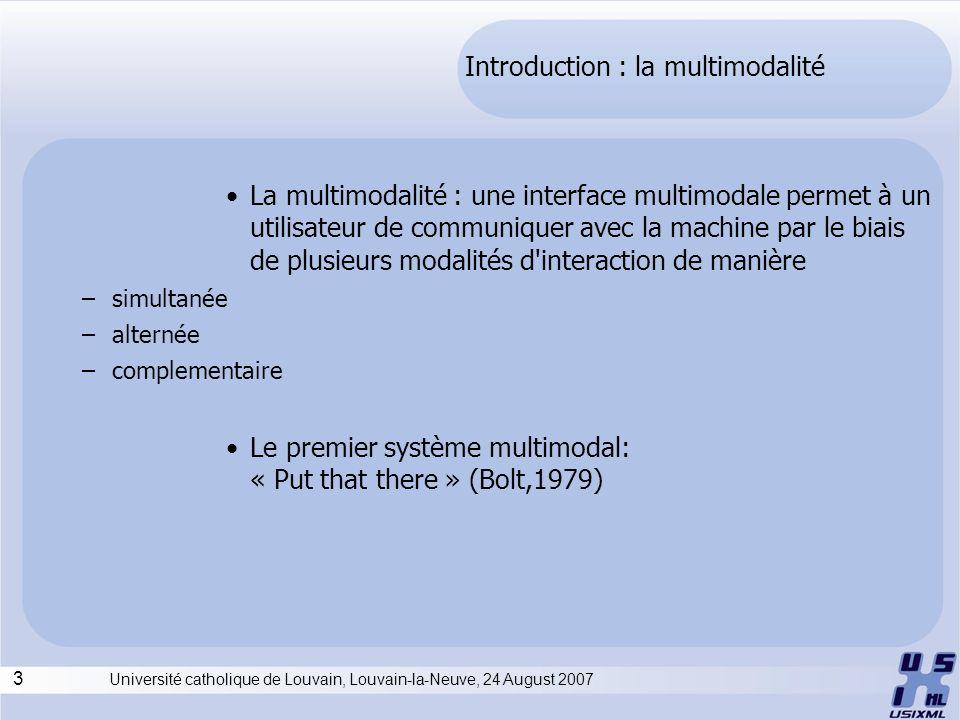 3 Université catholique de Louvain, Louvain-la-Neuve, 24 August 2007 Introduction : la multimodalité La multimodalité : une interface multimodale perm