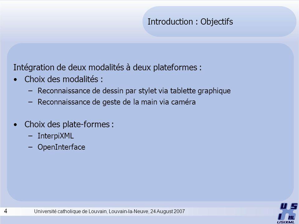 4 Université catholique de Louvain, Louvain-la-Neuve, 24 August 2007 Introduction : Objectifs Intégration de deux modalités à deux plateformes : Choix