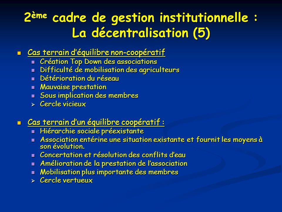 2 ème cadre de gestion institutionnelle : La décentralisation (5) Cas terrain déquilibre non-coopératif Cas terrain déquilibre non-coopératif Création