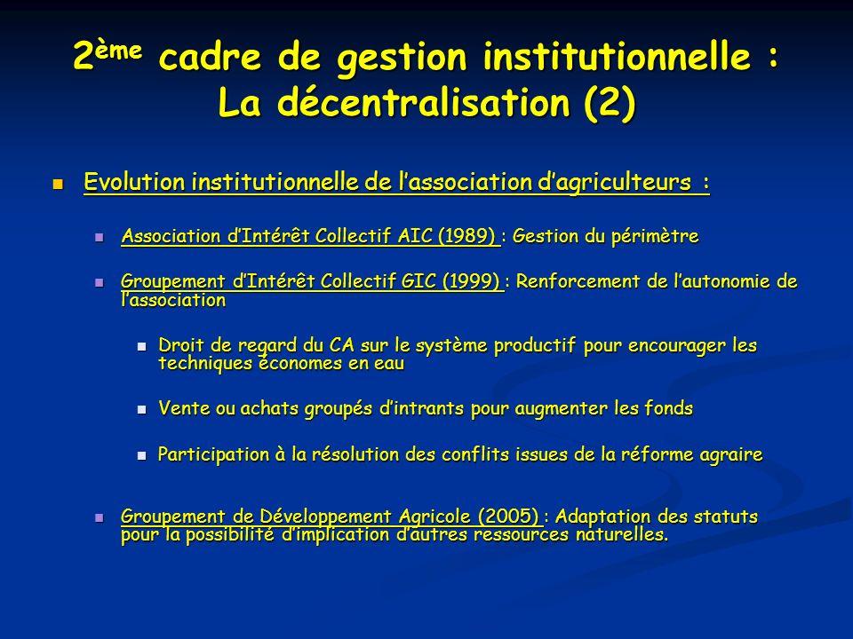 2 ème cadre de gestion institutionnelle : La décentralisation (2) Evolution institutionnelle de lassociation dagriculteurs : Evolution institutionnelle de lassociation dagriculteurs : Association dIntérêt Collectif AIC (1989) : Gestion du périmètre Association dIntérêt Collectif AIC (1989) : Gestion du périmètre Groupement dIntérêt Collectif GIC (1999) : Renforcement de lautonomie de lassociation Groupement dIntérêt Collectif GIC (1999) : Renforcement de lautonomie de lassociation Droit de regard du CA sur le système productif pour encourager les techniques économes en eau Droit de regard du CA sur le système productif pour encourager les techniques économes en eau Vente ou achats groupés dintrants pour augmenter les fonds Vente ou achats groupés dintrants pour augmenter les fonds Participation à la résolution des conflits issues de la réforme agraire Participation à la résolution des conflits issues de la réforme agraire Groupement de Développement Agricole (2005) : Adaptation des statuts pour la possibilité dimplication dautres ressources naturelles.