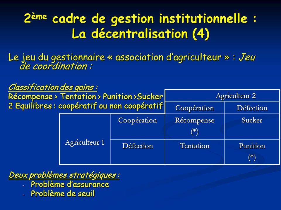 2 ème cadre de gestion institutionnelle : La décentralisation (4) Le jeu du gestionnaire « association dagriculteur » : Jeu de coordination : Classifi