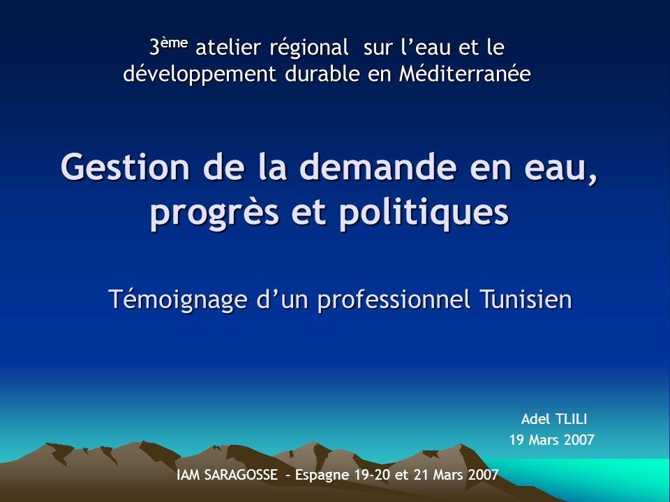 Gestion de la demande en eau, progrès et politiques 3 ème atelier régional sur leau et le développement durable en Méditerranée Témoignage dun professionnel Tunisien 19 Mars 2007 Adel TLILI IAM SARAGOSSE – Espagne 19-20 et 21 Mars 2007