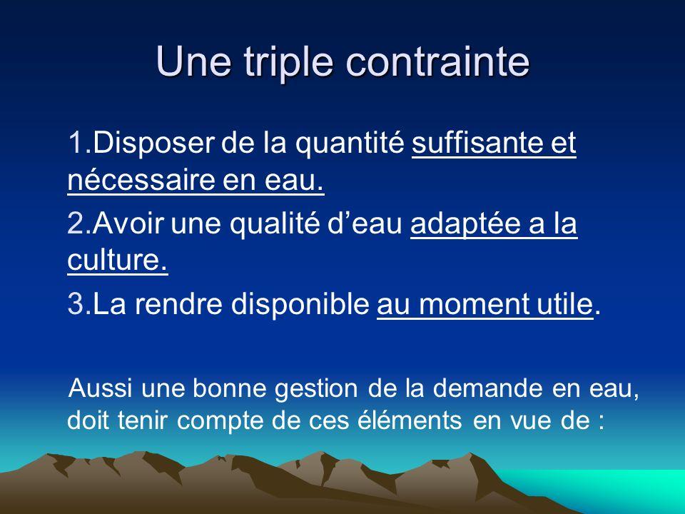 Une triple contrainte 1.Disposer de la quantité suffisante et nécessaire en eau.