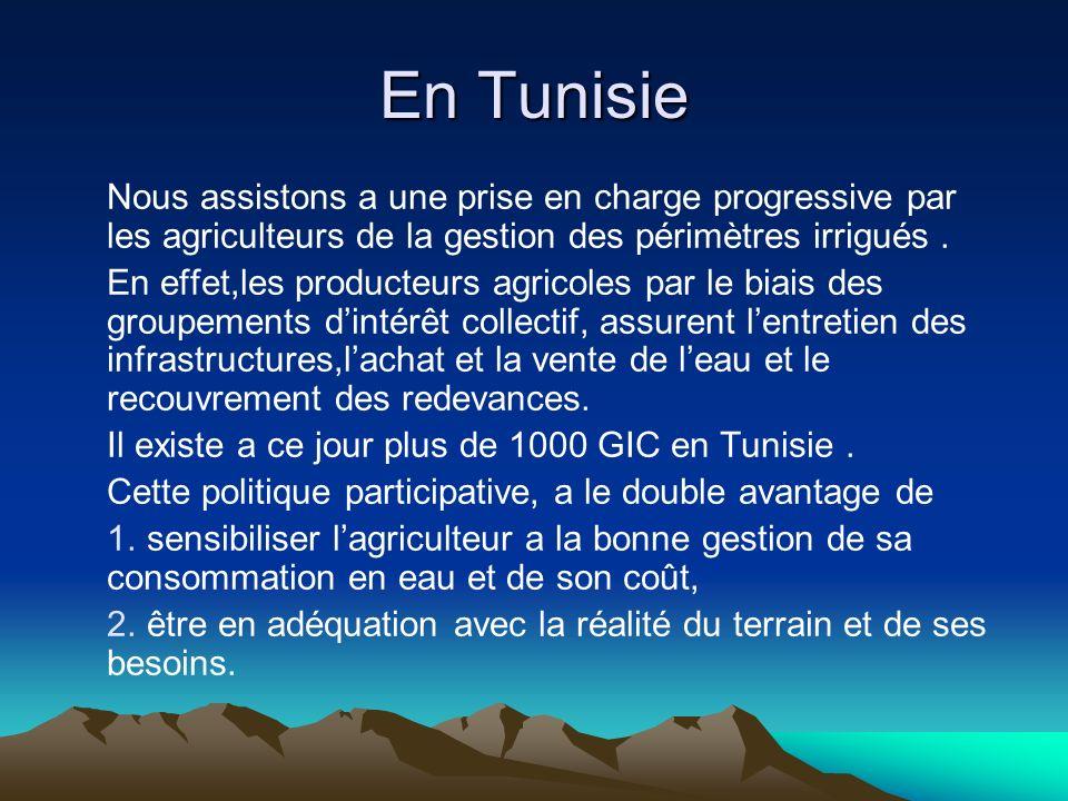 En Tunisie Nous assistons a une prise en charge progressive par les agriculteurs de la gestion des périmètres irrigués.