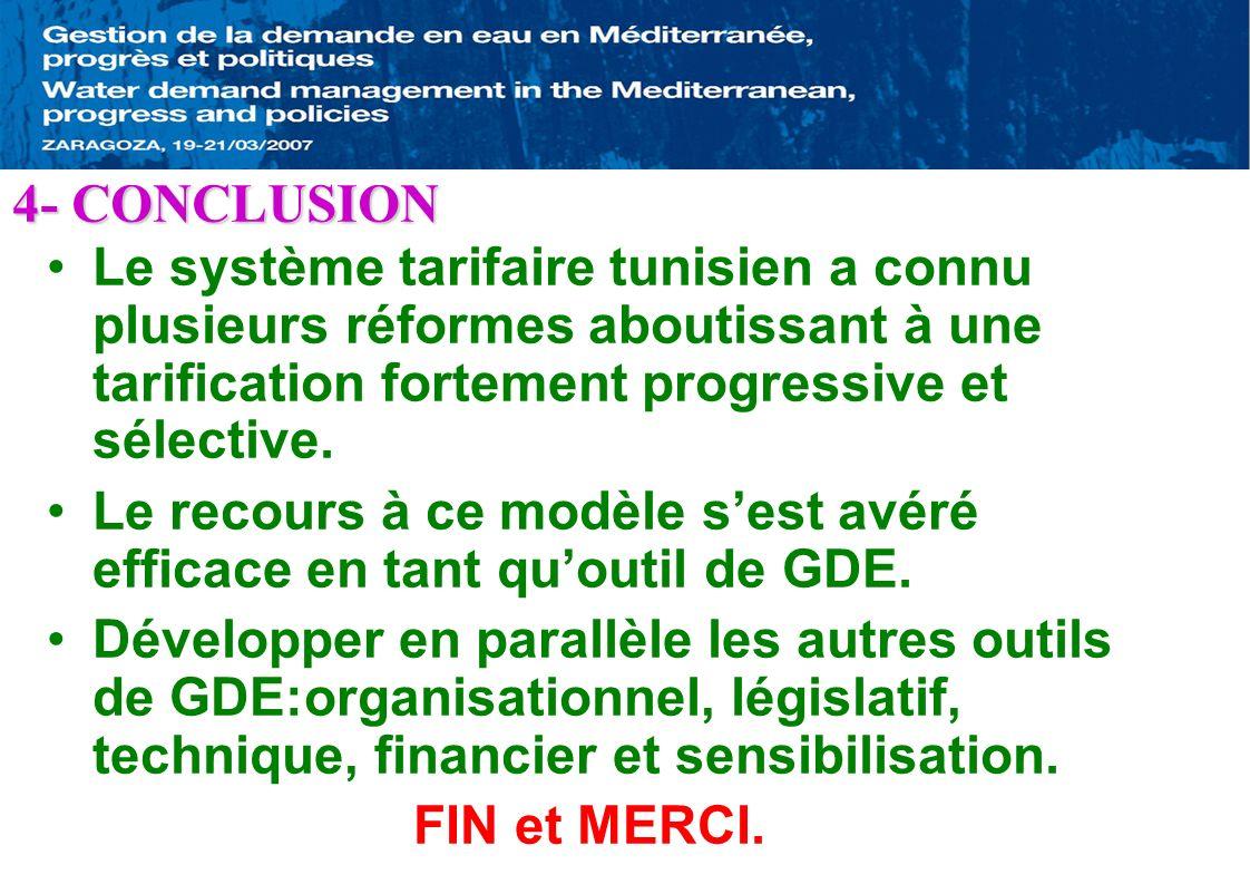 Le système tarifaire tunisien a connu plusieurs réformes aboutissant à une tarification fortement progressive et sélective. Le recours à ce modèle ses
