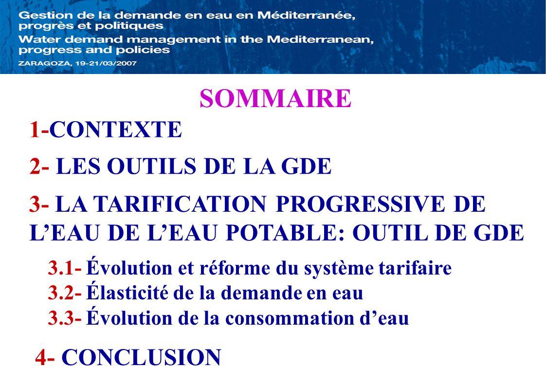 SOMMAIRE 1-CONTEXTE 2- LES OUTILS DE LA GDE 3- LA TARIFICATION PROGRESSIVE DE LEAU DE LEAU POTABLE: OUTIL DE GDE 3.1- Évolution et réforme du système