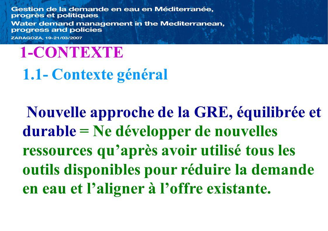 1-CONTEXTE 1.2- CONTEXTE TUNISIEN *Faible Potentiel Hydraulique ** 450 m3/an/habitant (2005): Grèce=7000;France=5000 ** 320 // // (2030) *Ressources en Eau: LOIN des centres de Consommation Transfert de lEau sur de Longues Distances *Haute Salinité de lEau Obstacle pour un usage large *Accroissement de la Demande